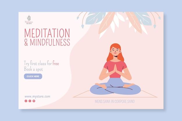 Баннер медитации и осознанности Бесплатные векторы