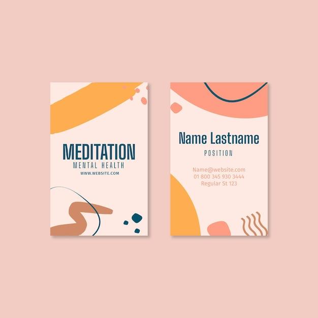 Двусторонняя визитная карточка медитации и осознанности Premium векторы