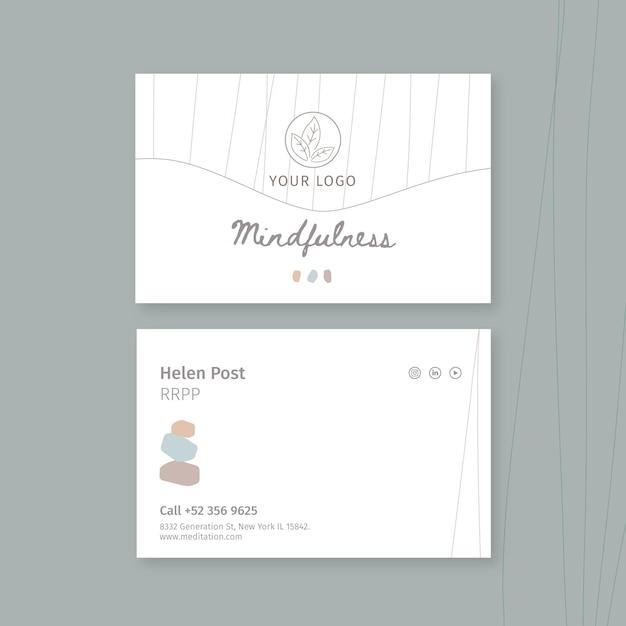Шаблон горизонтальной визитки для медитации и осознанности Бесплатные векторы