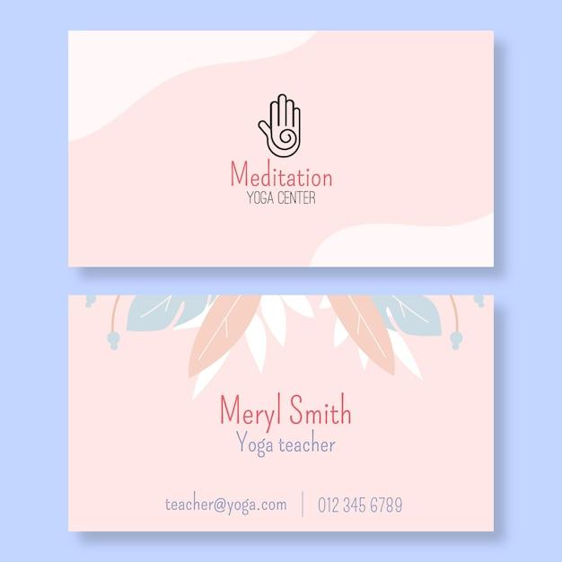 Шаблон горизонтальной визитки для медитации и осознанности Premium векторы