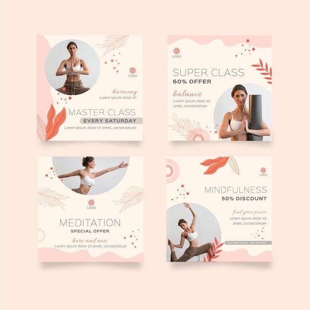 瞑想とマインドフルネスのinstagramの投稿コレクション 無料ベクター