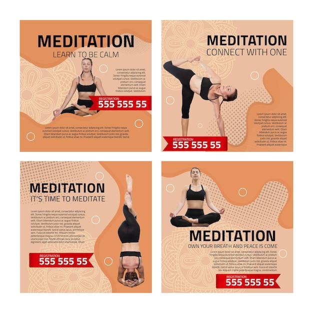 Сообщения в instagram о медитации и осознанности Premium векторы