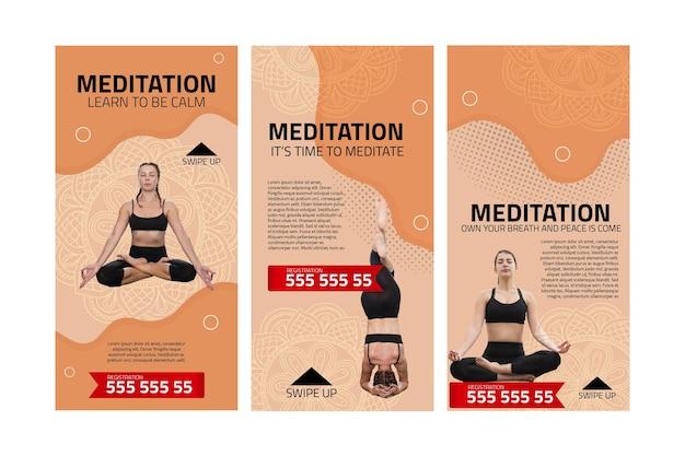 Истории инстаграмм о медитации и осознанности Premium векторы