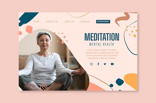 Целевая страница медитации и осознанности Бесплатные векторы