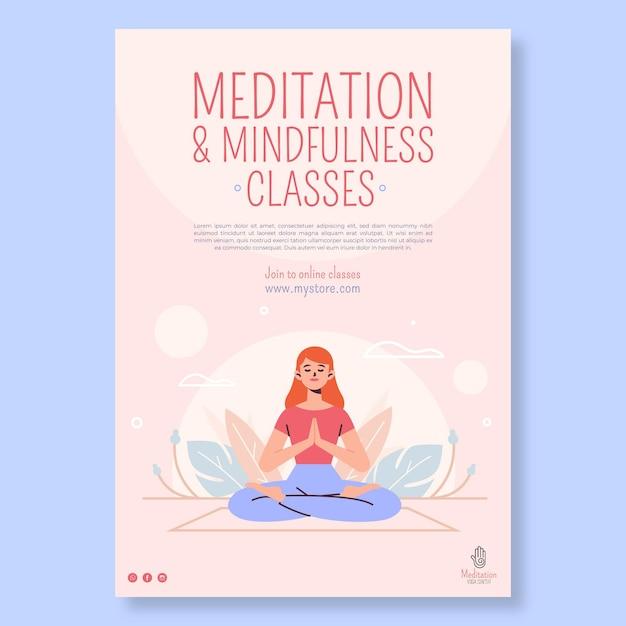 Плакат медитации и осознанности Premium векторы