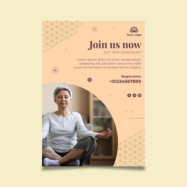 瞑想とマインドフルネスのポスター 無料ベクター