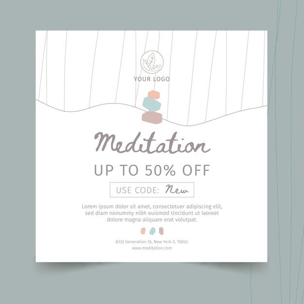 Шаблон квадратного флаера для медитации и осознанности Бесплатные векторы