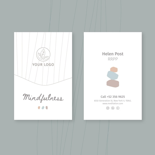 Шаблон вертикальной визитки для медитации и осознанности Бесплатные векторы