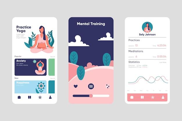 Concetto di interfaccia app di meditazione Vettore gratuito