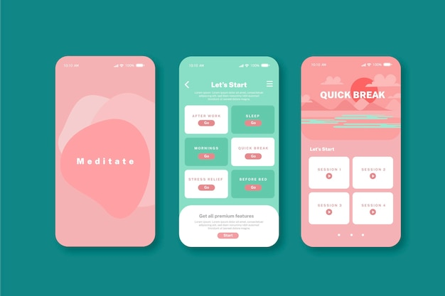 Meditation app interface concept Premium Vector