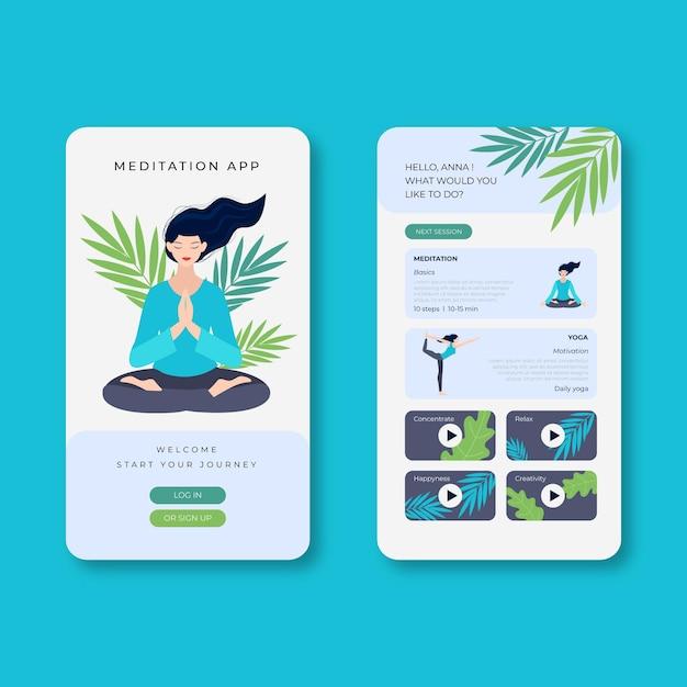 Modello di app di meditazione Vettore gratuito
