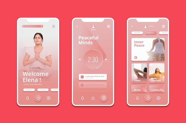 Meditation app Premium Vector