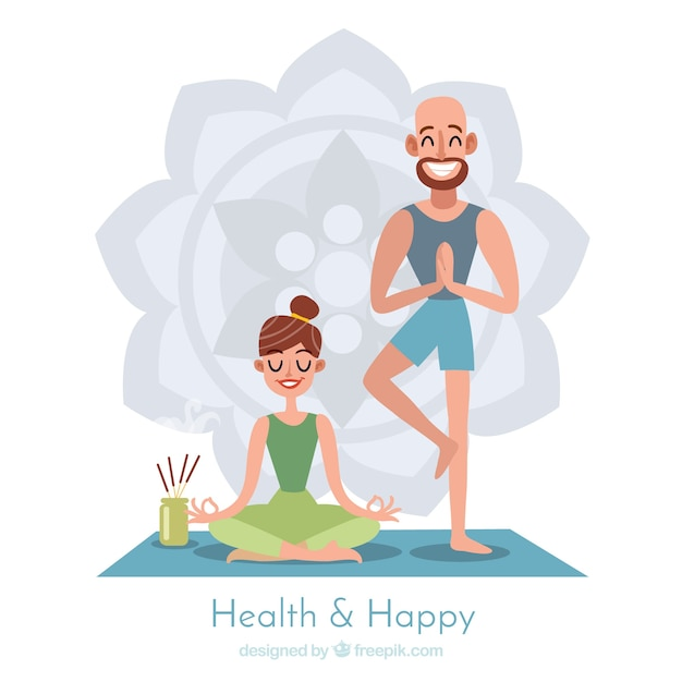 Meditation background with couple Free Vector