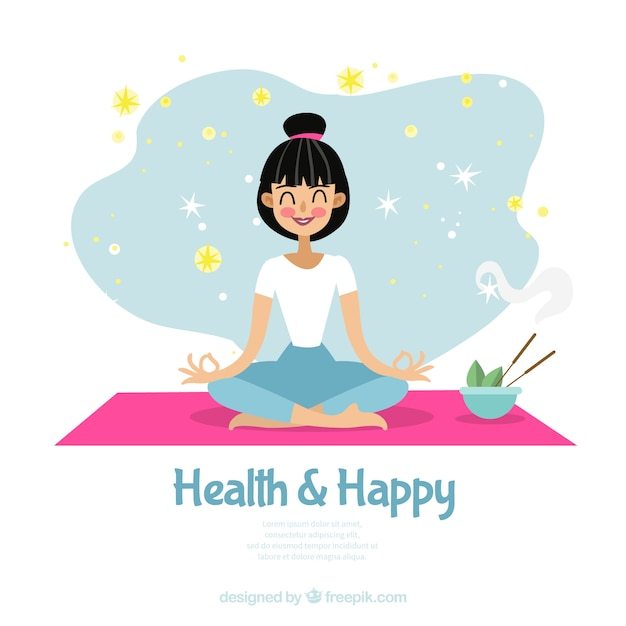 Meditation background with woman Free Vector