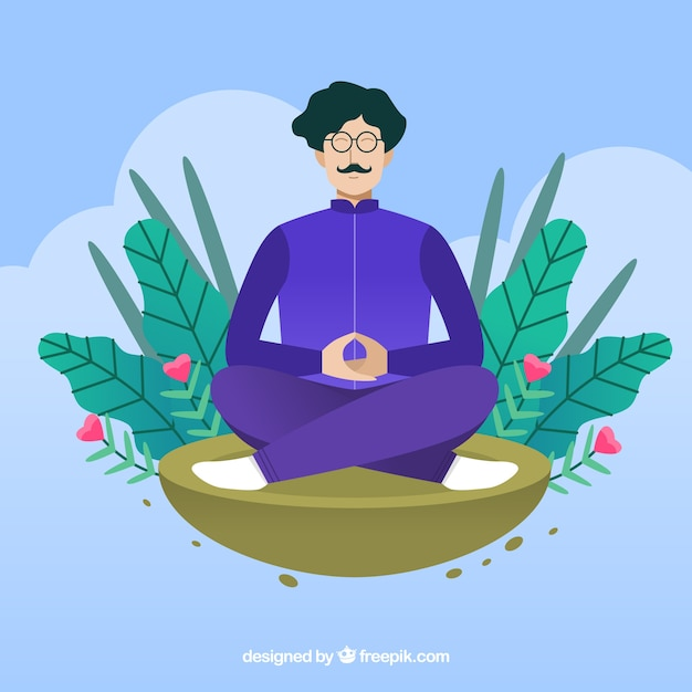 Meditation concept background Free Vector