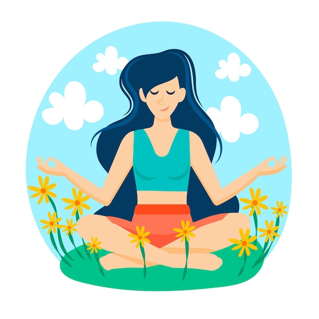 Meditation concept in a field of flowers Free Vector