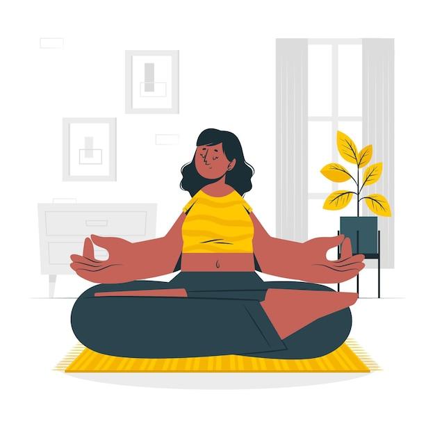 Illustrazione di concetto di meditazione Vettore gratuito