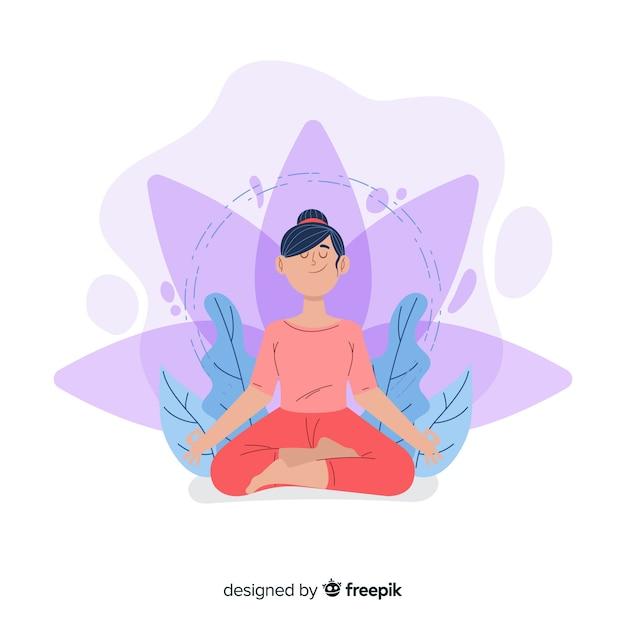 Meditation concept illustration Free Vector