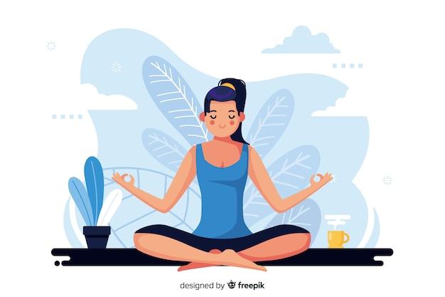 Meditation concept illustration Premium Vector