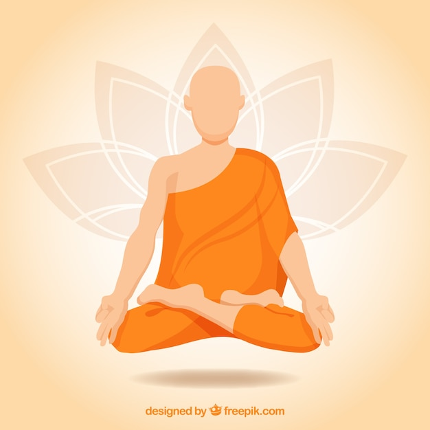 Meditation concept with buddhist monk Free Vector