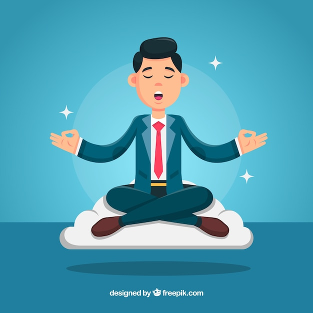 Meditation concept with businessman Free Vector