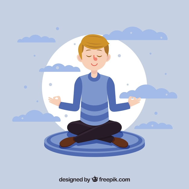 Meditation concept with flat character Free Vector