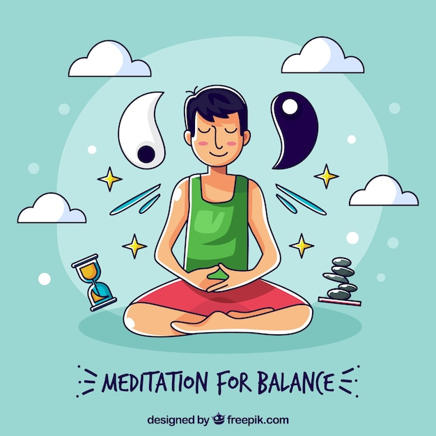 Meditation concept with hand drawn character Free Vector