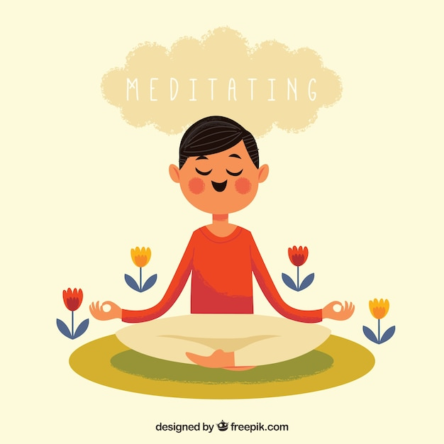 Meditation concept with happy man Free Vector
