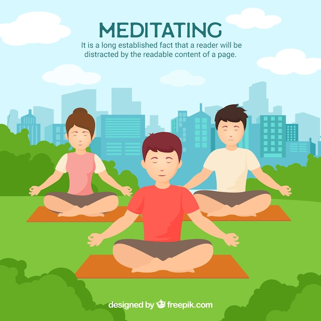 Meditation concept with people in the park Free Vector