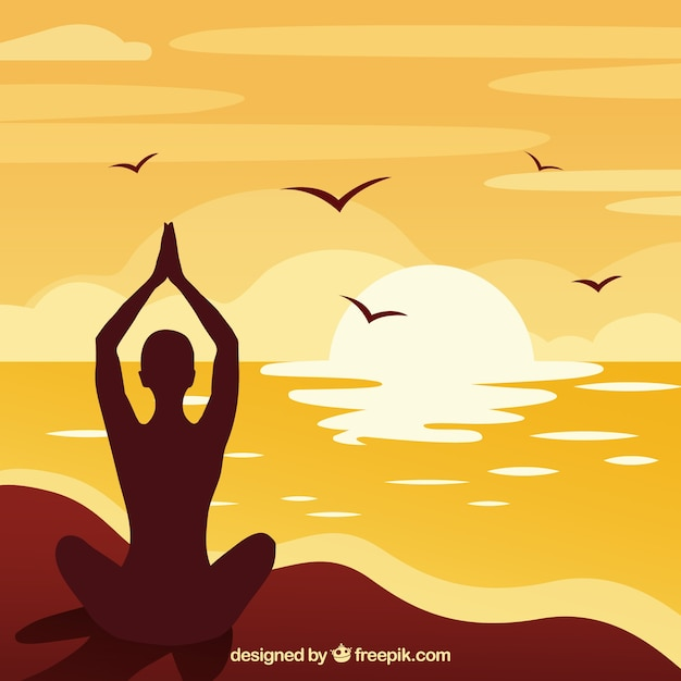 Meditation concept with silhouette style Free Vector