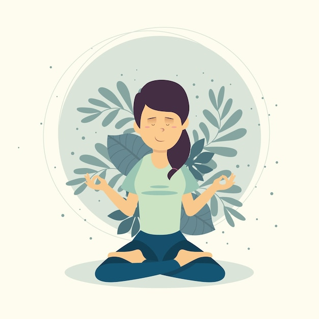 Meditation concept with woman Free Vector