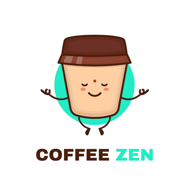 Meditation cute happy smiling coffee cup.  flat cartoon character illustration icon . isolated on white . coffee, meditation,zen,relax,yoga logo Premium Vector