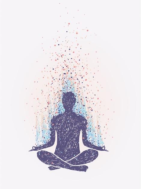 Meditation, enlightenment. sensation of vibrations. hand drawn colorful illustration. Premium Vector