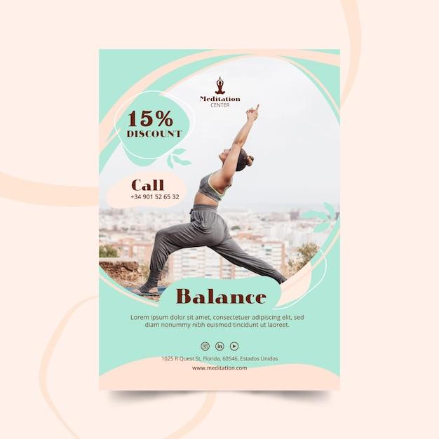 Meditation flyer template Premium Vector