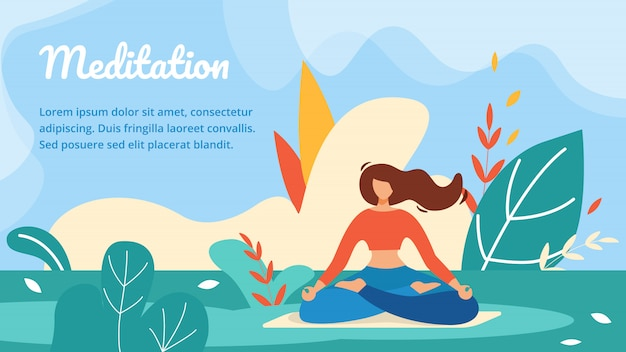 Meditation Horizontal Banner Template Premium Vector
