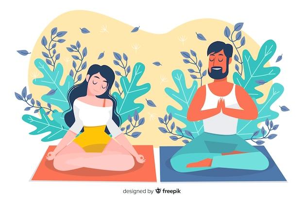 Медитация иллюстрирует концепцию для целевой страницы Бесплатные векторы