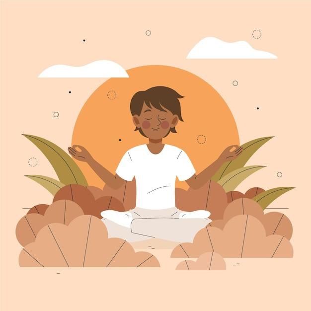 Meditation illustrated concept Premium Vector