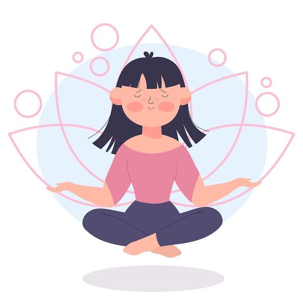 Meditation illustration concept Premium Vector