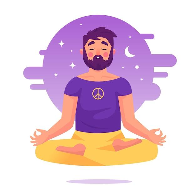Концепция иллюстрации медитации Premium векторы
