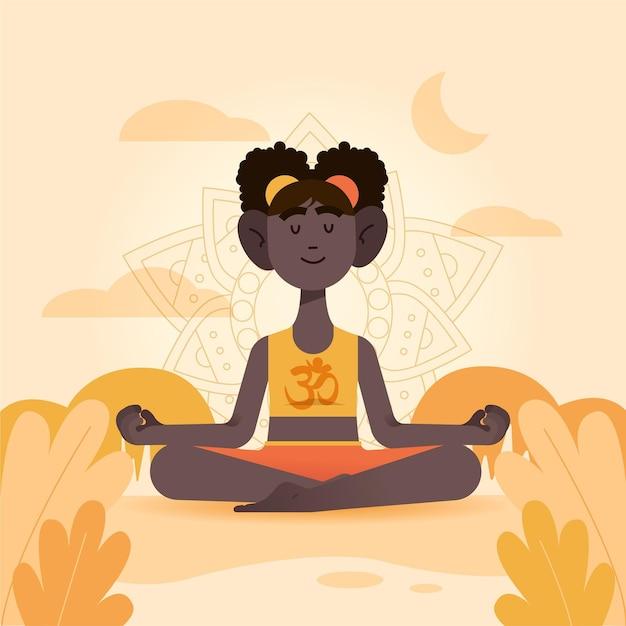 Meditation illustration concept Free Vector