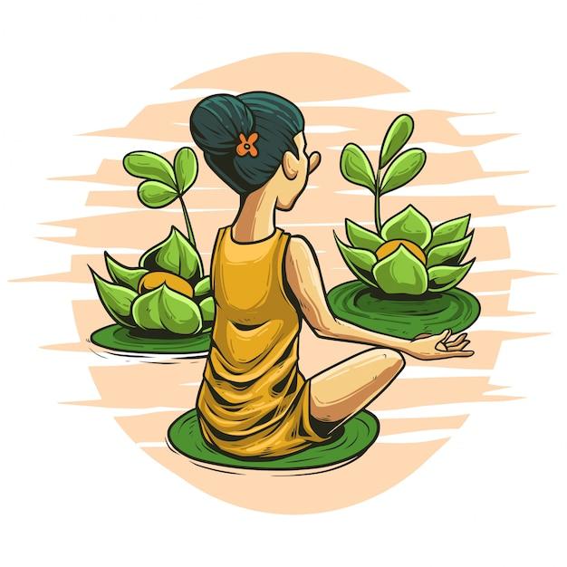 Медитация в природе иллюстрации Premium векторы