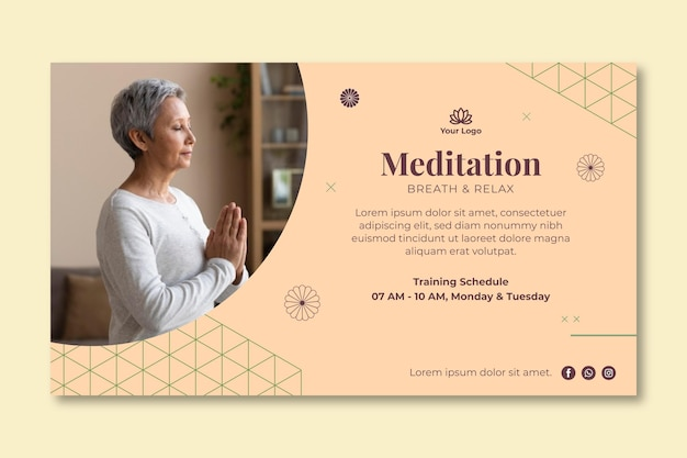 Meditation and mindfulness baner Premium Vector
