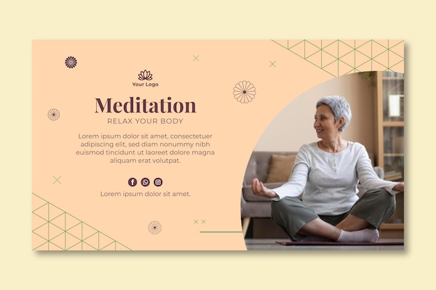 Meditation and mindfulness baner Premium Vector