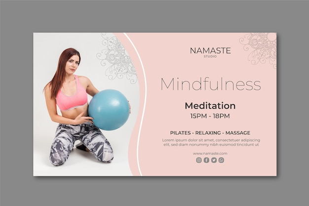 Meditation & mindfulness banner template Free Vector