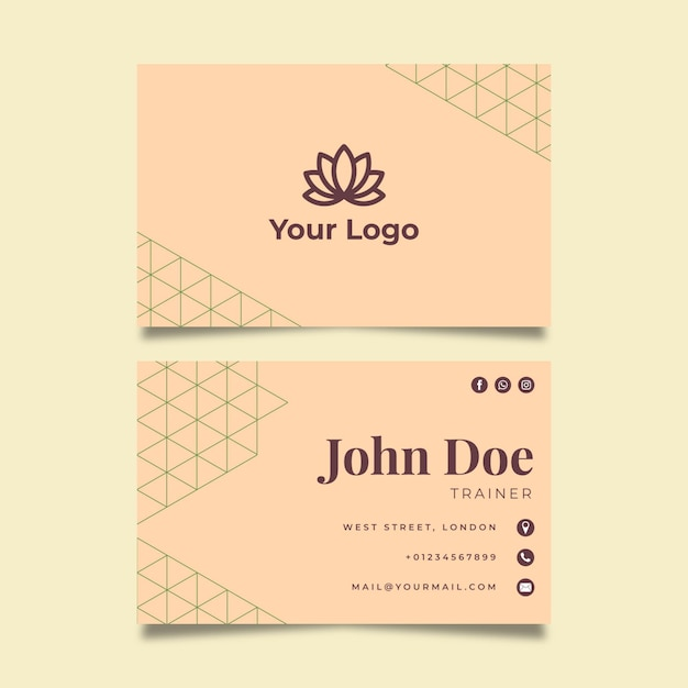Meditation and mindfulness double sided businesscard Premium Vector