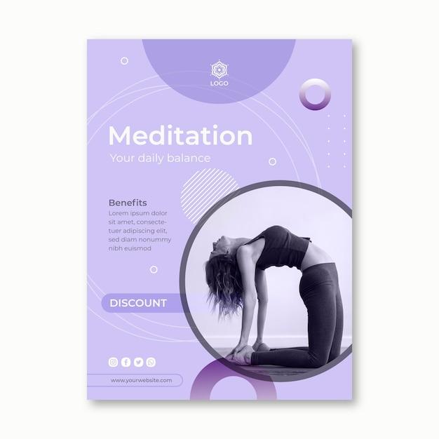 Modello di volantino meditazione e consapevolezza Vettore gratuito