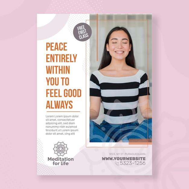 Meditation & mindfulness flyer vertical Free Vector