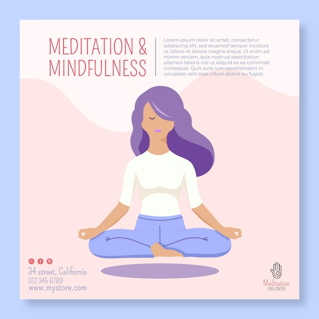 Meditation and mindfulness flyer Premium Vector