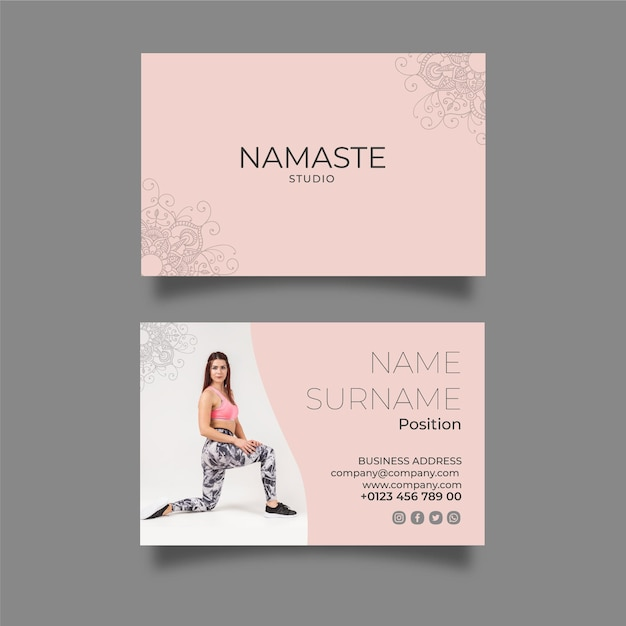 Meditation & mindfulness horizontal business card template Free Vector