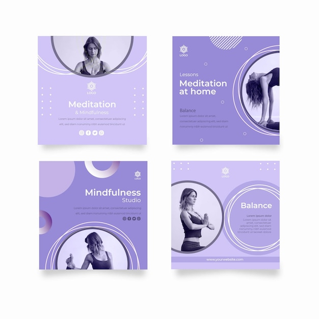 Meditation and mindfulness instagram post template Free Vector
